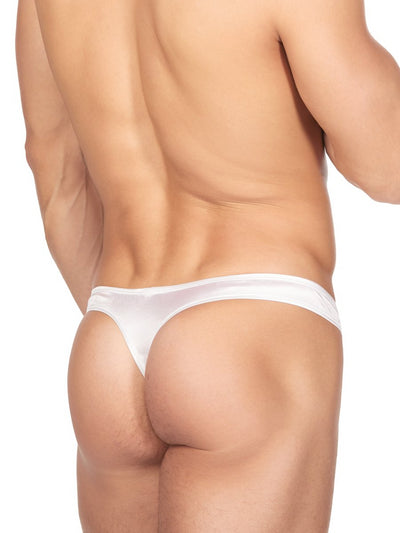 Men's White Satin Thong Underwear