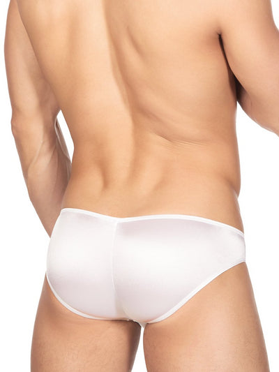 Men's white satin bikini briefs