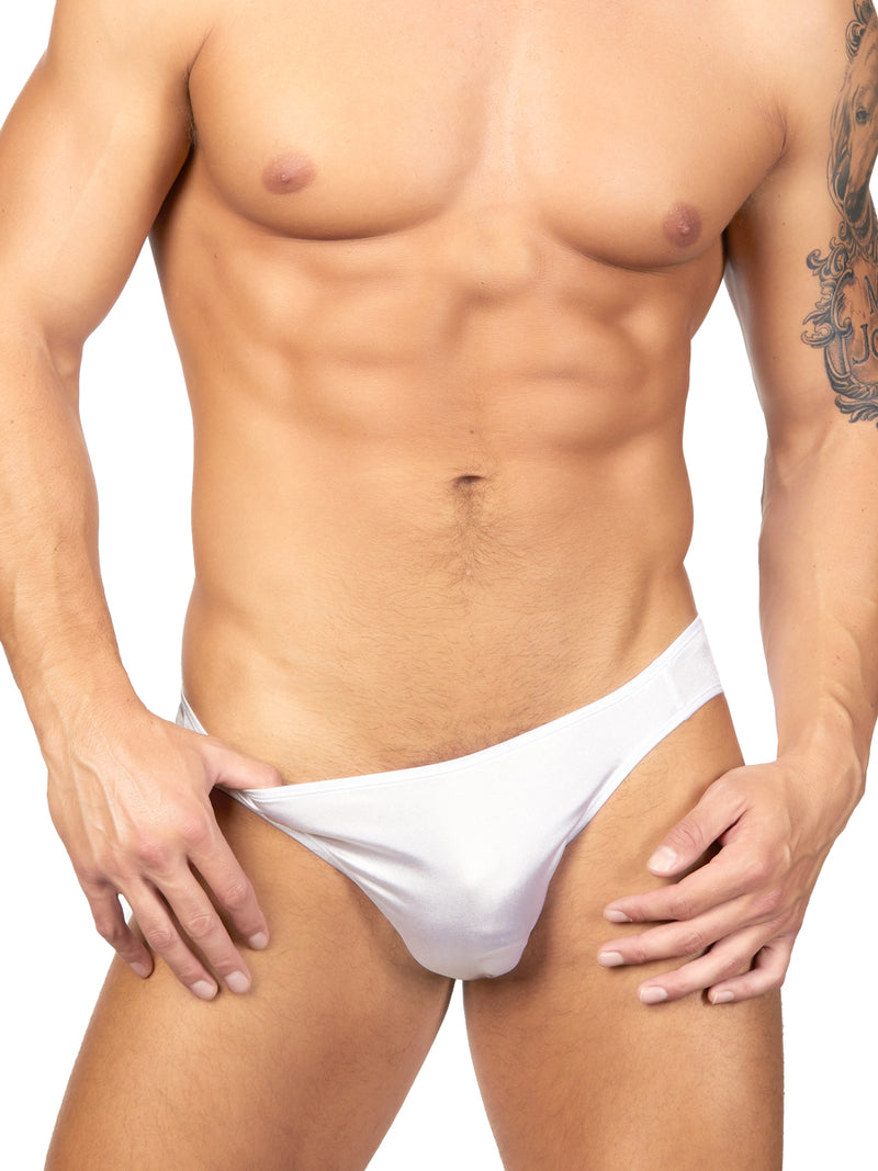 Men's white satin briefs