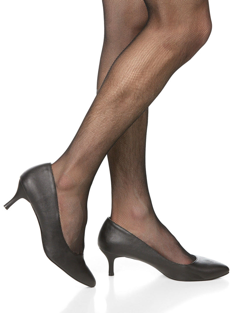 Men's black short high heeled shoes
