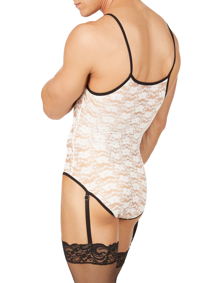 Men's White Lace Bodysuit With Garters