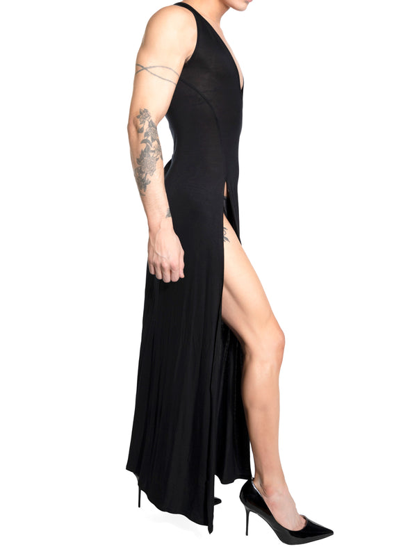 Men's black long jersey gown