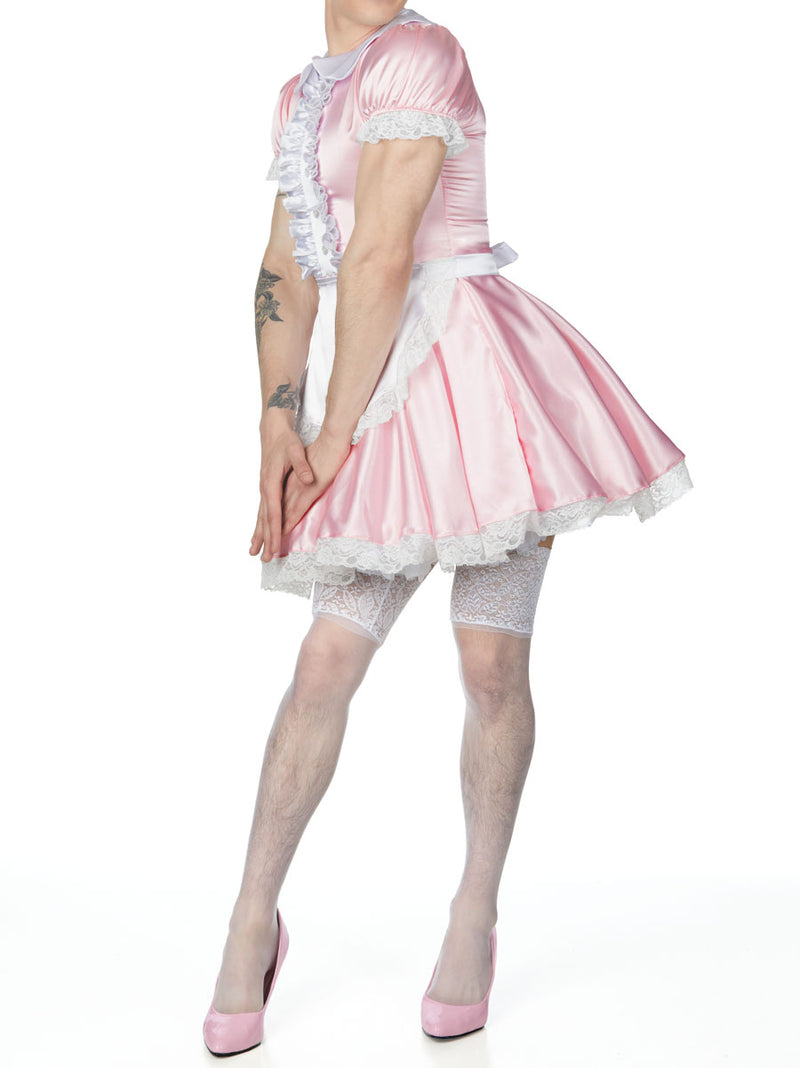 men's pink french maid dress