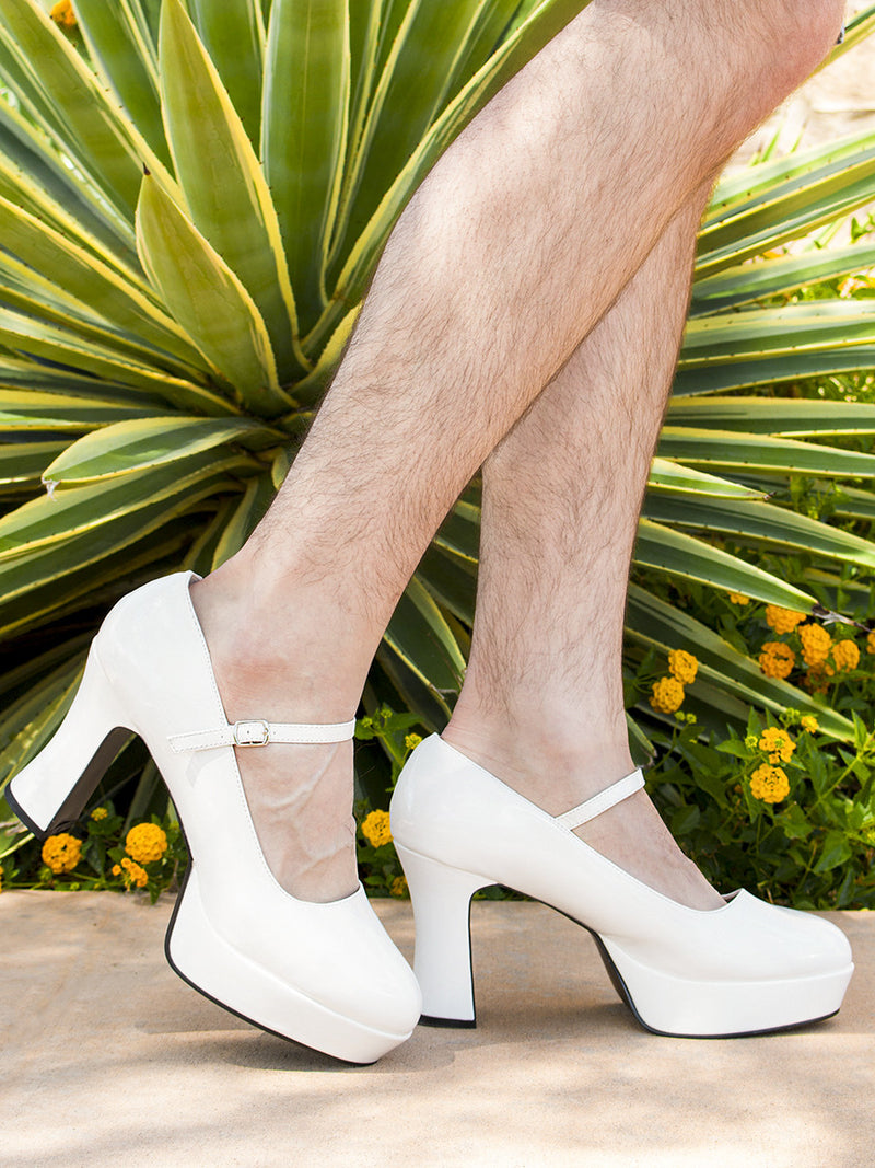 Men's white thick high heel crossdressing shoes