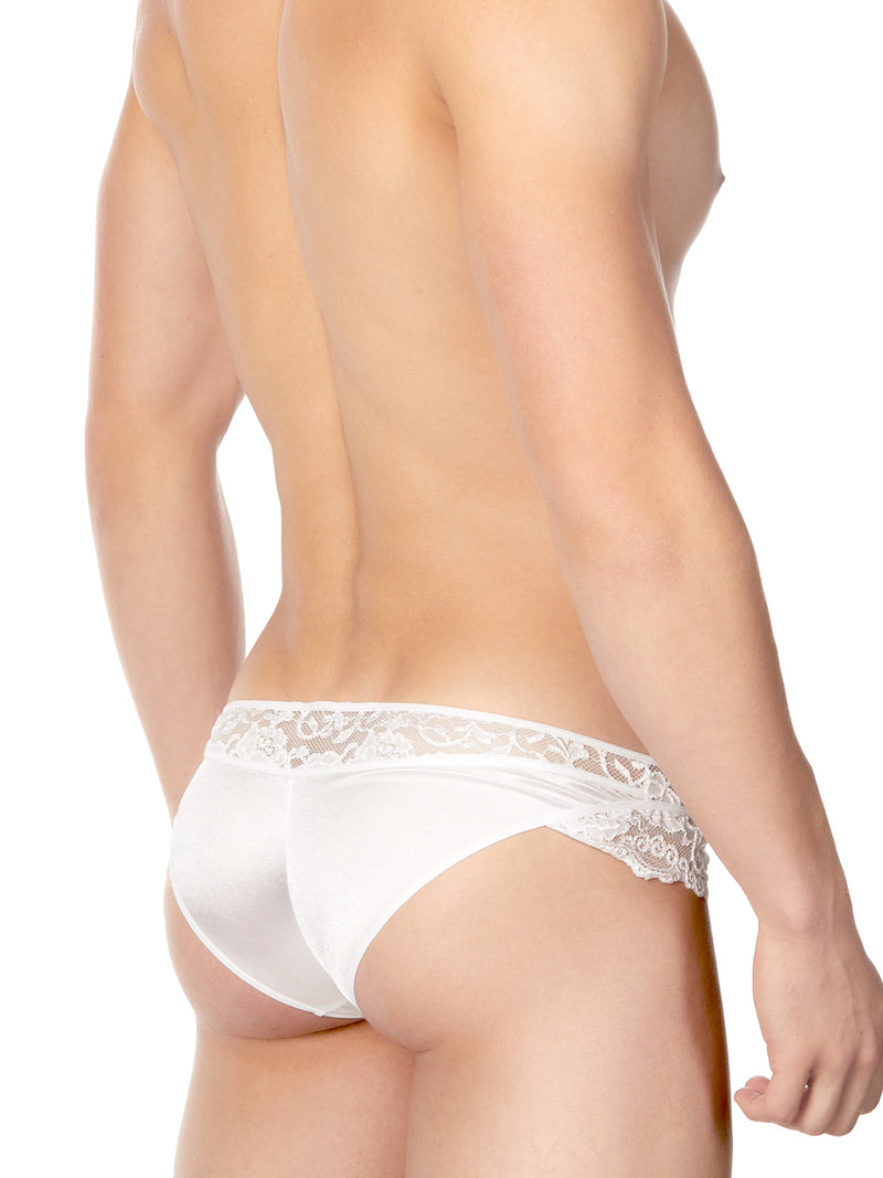 Men's white satin and lace panty
