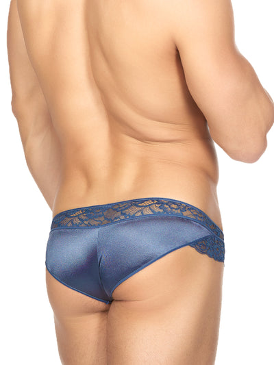 Men's Blue Satin and Lace Panties