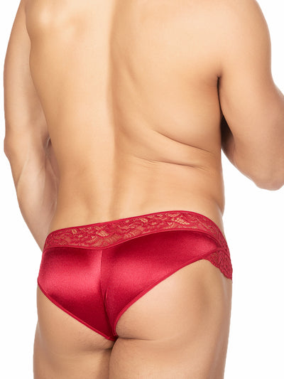 Men's Red Satin and Lace Panties