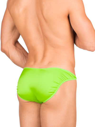 Men's neon green bikini cut silk brief panties