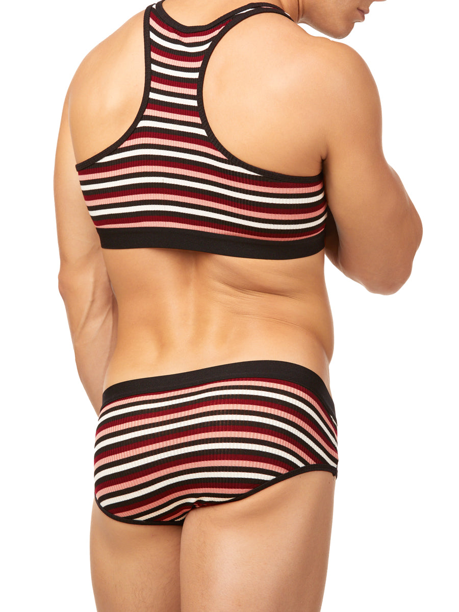 The Striped Ribbed Sports Bra
