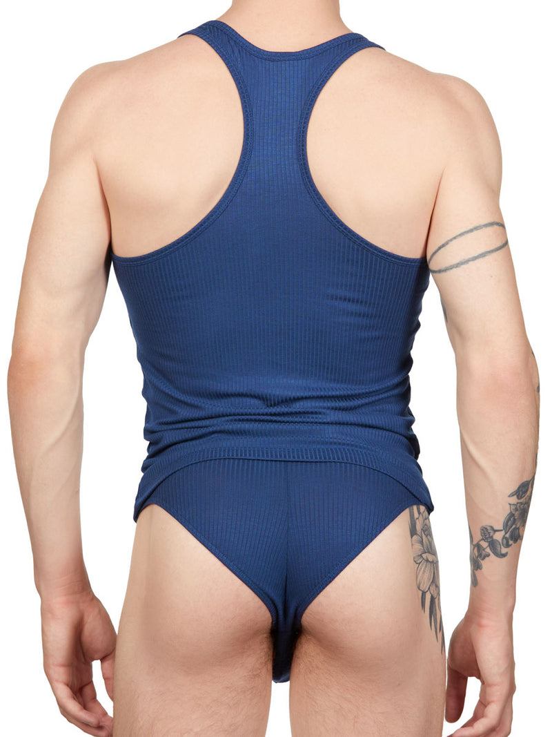 Men's blue ribbed camisole