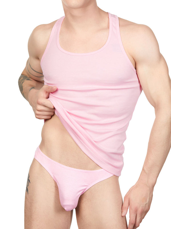 Men's pink ribbed camisole