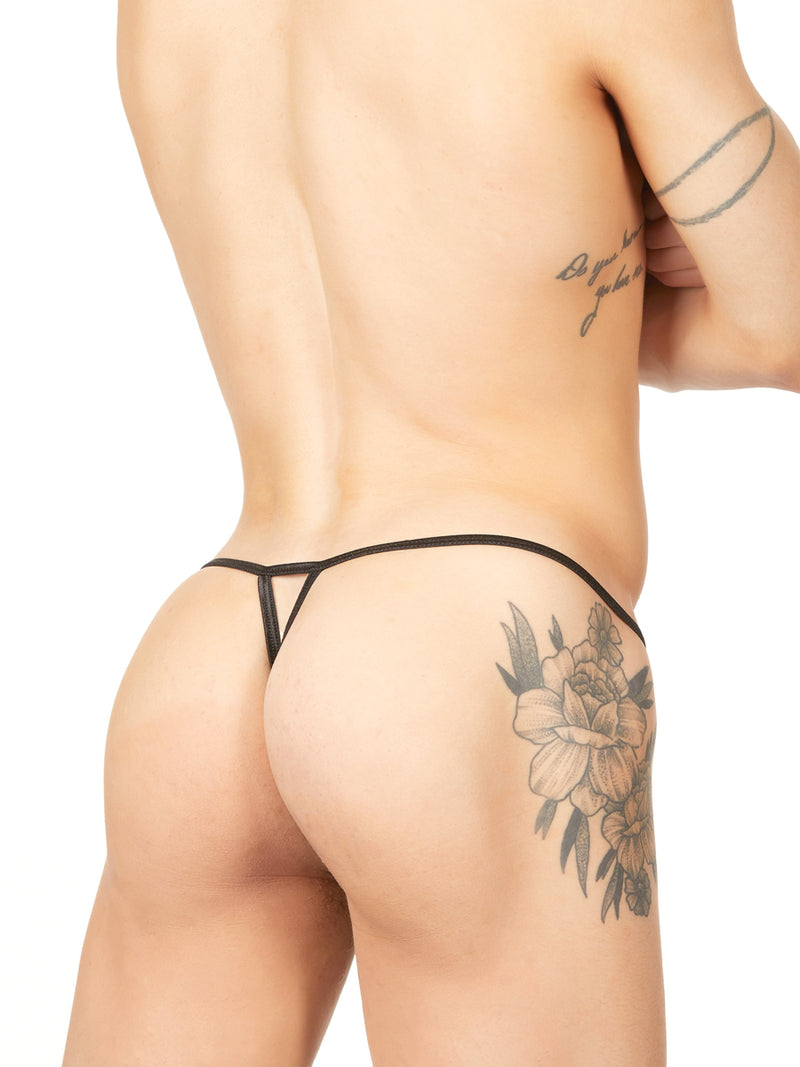 Men's black ruffle g-string