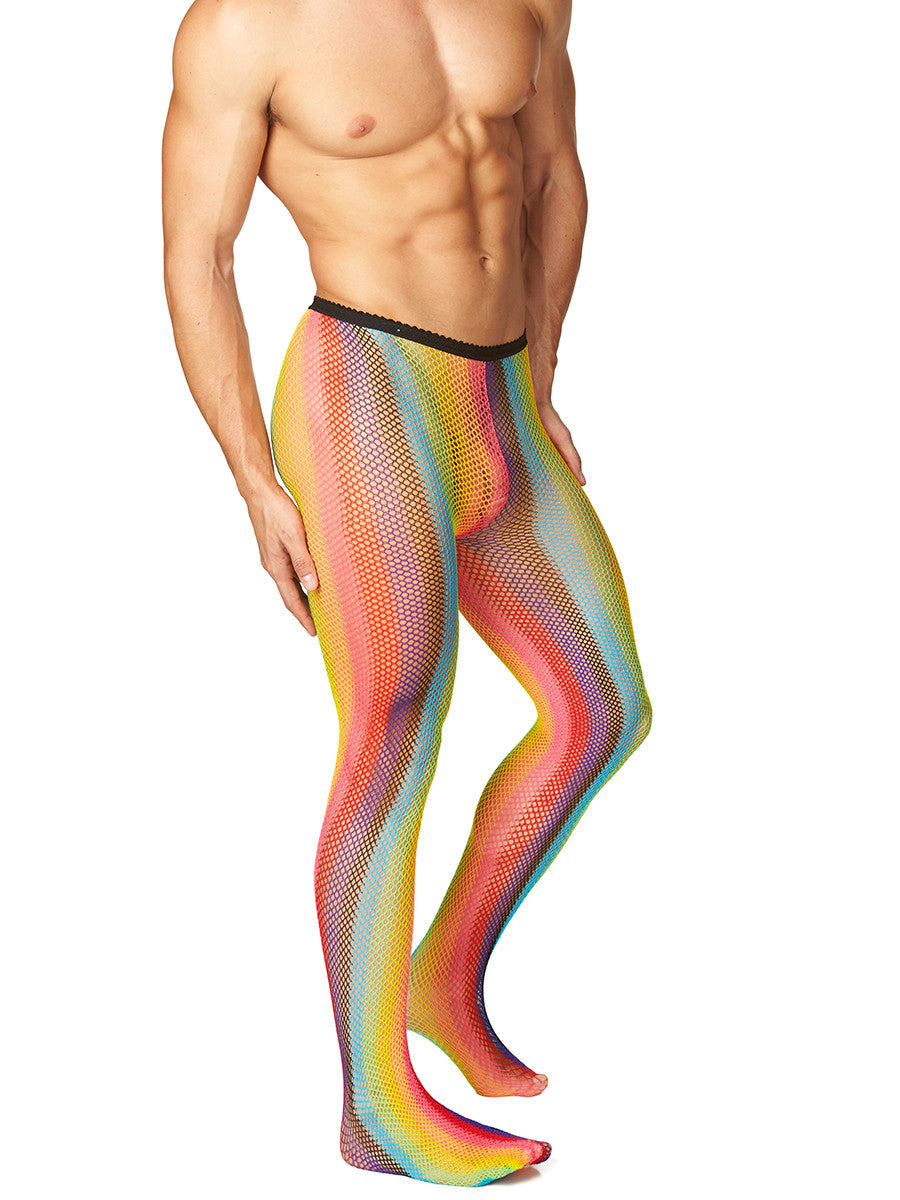 Men's rainbow fishnet pantyhose tights