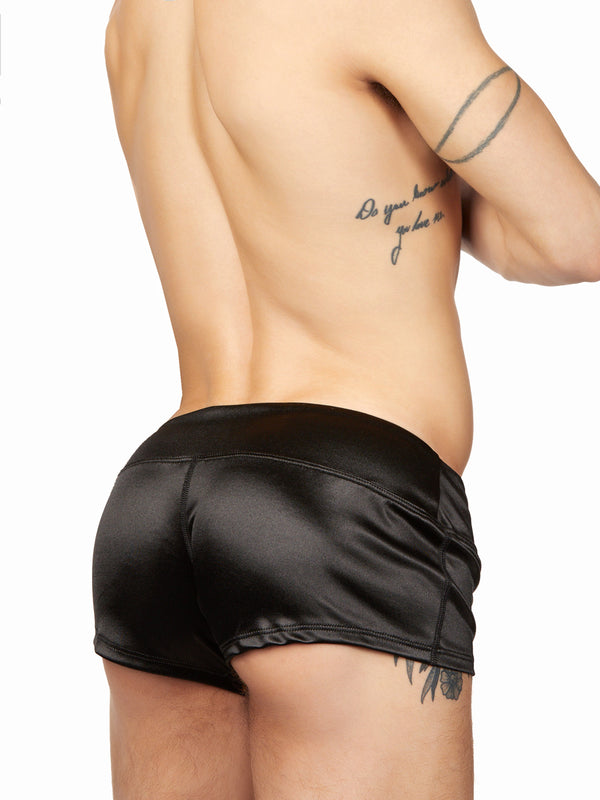 men's black satin shorts