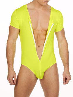 Men's neon yellow short sleeve soft and stretchy zipper leotard bodysuit