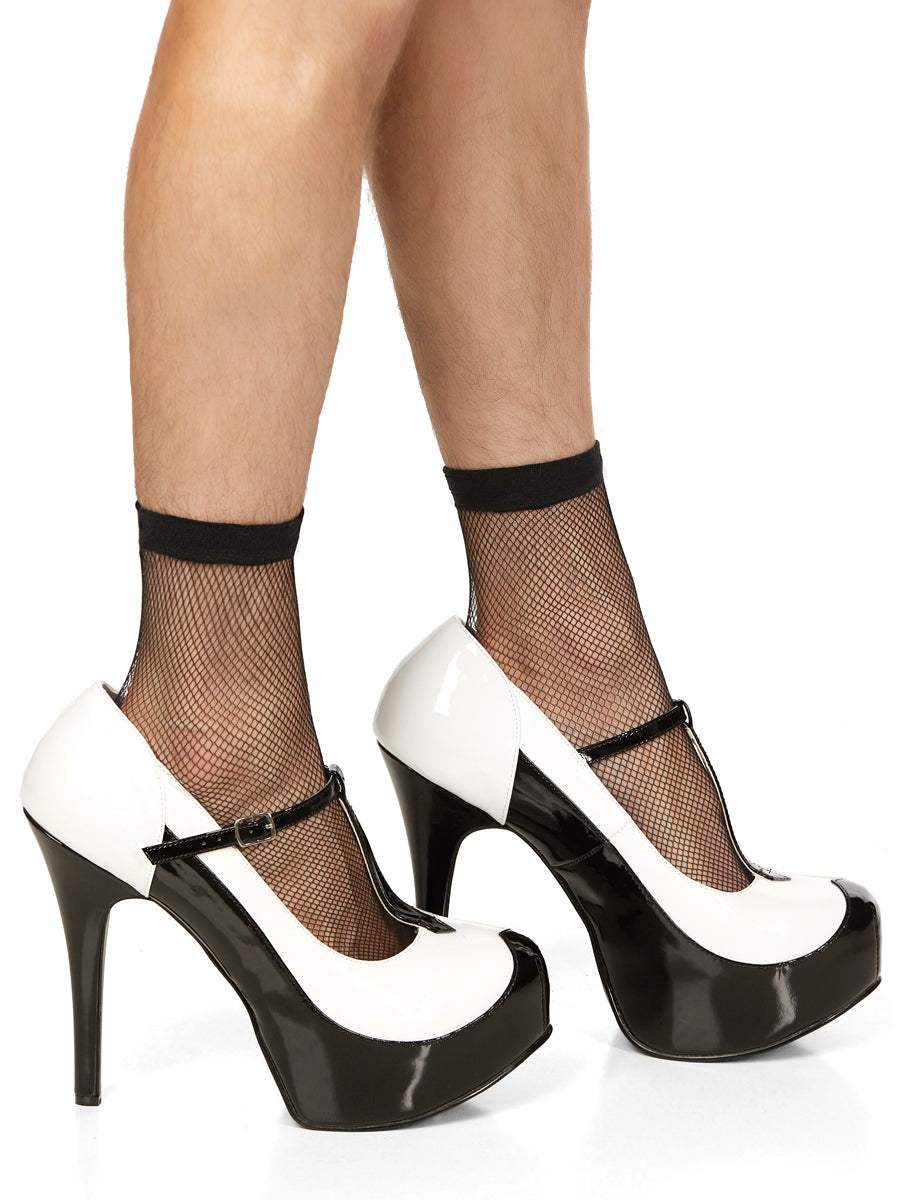 Men's Black & White Platform Pumps