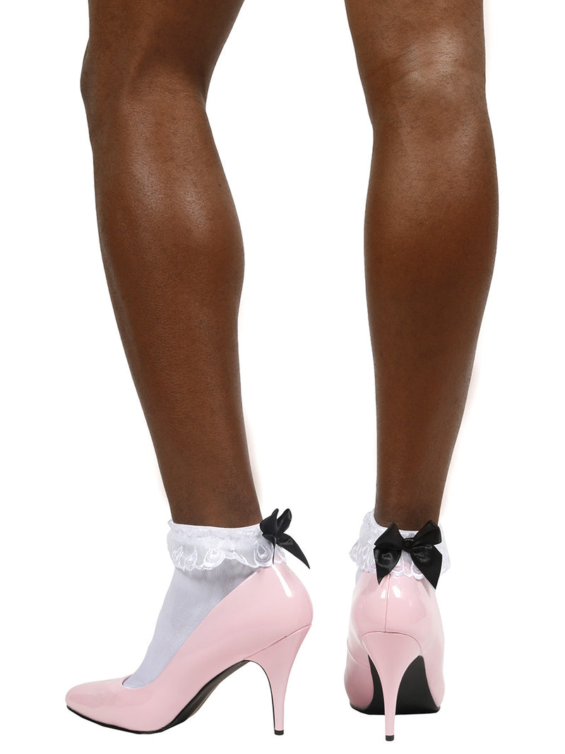 Men's white sissy lace ankle socks with black bows