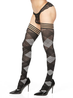 Men's black argyle stockings