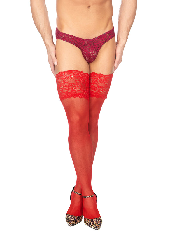 men's red lacy thigh high tights