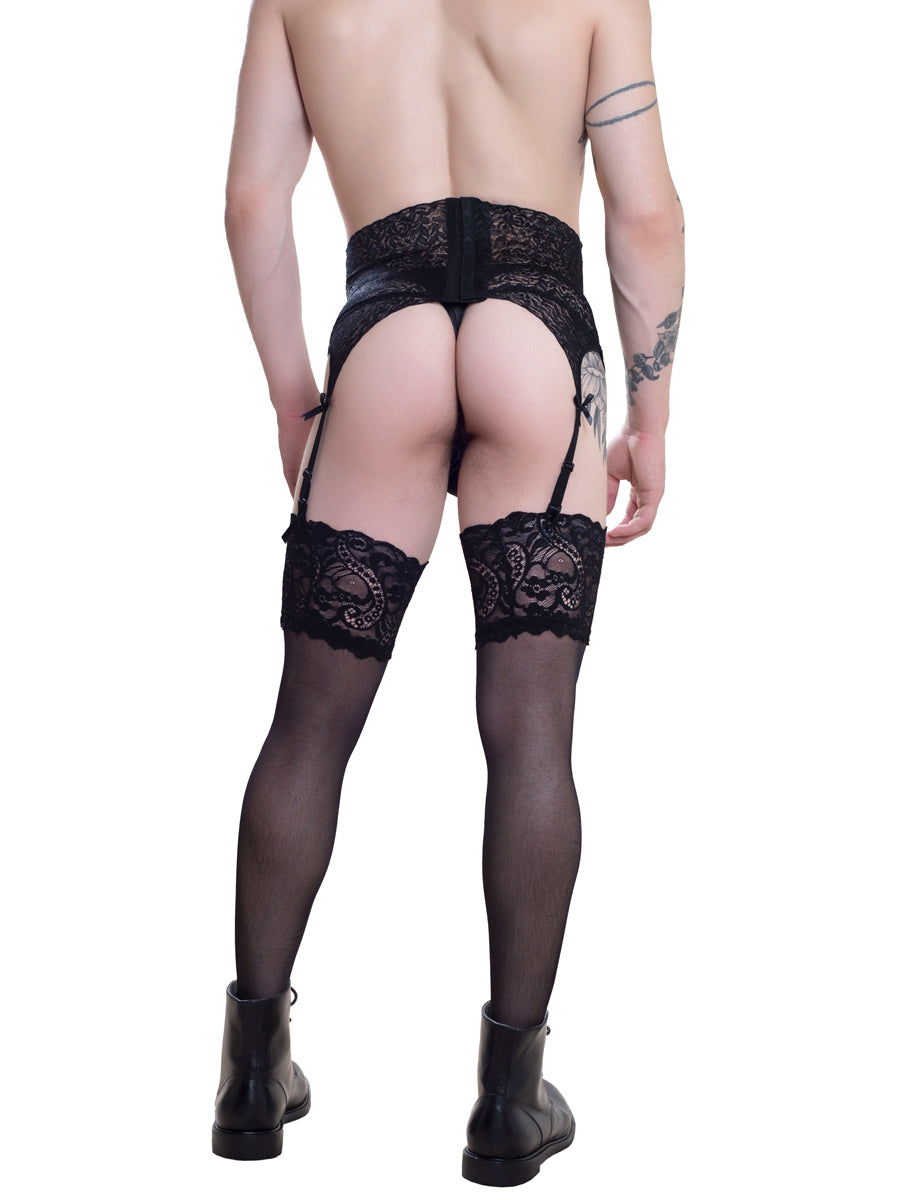 Men's Black Lace Garter Belt