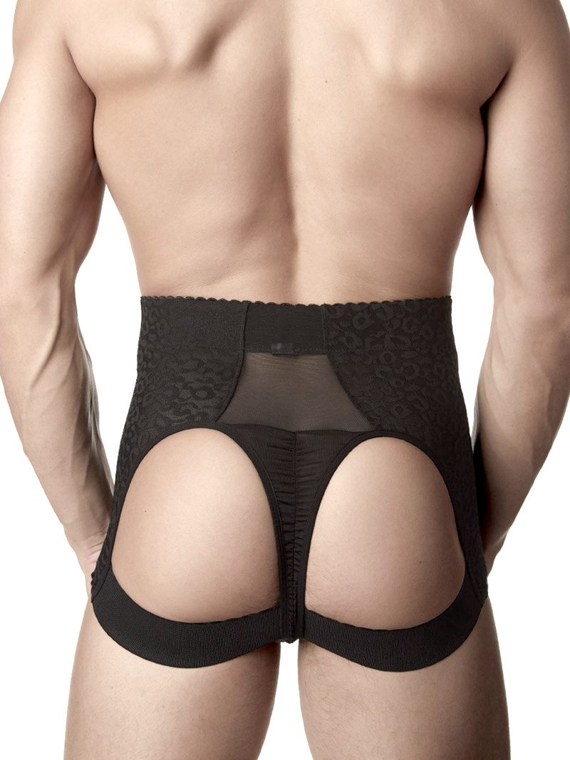 Men's black lace tight girdle butt lifter