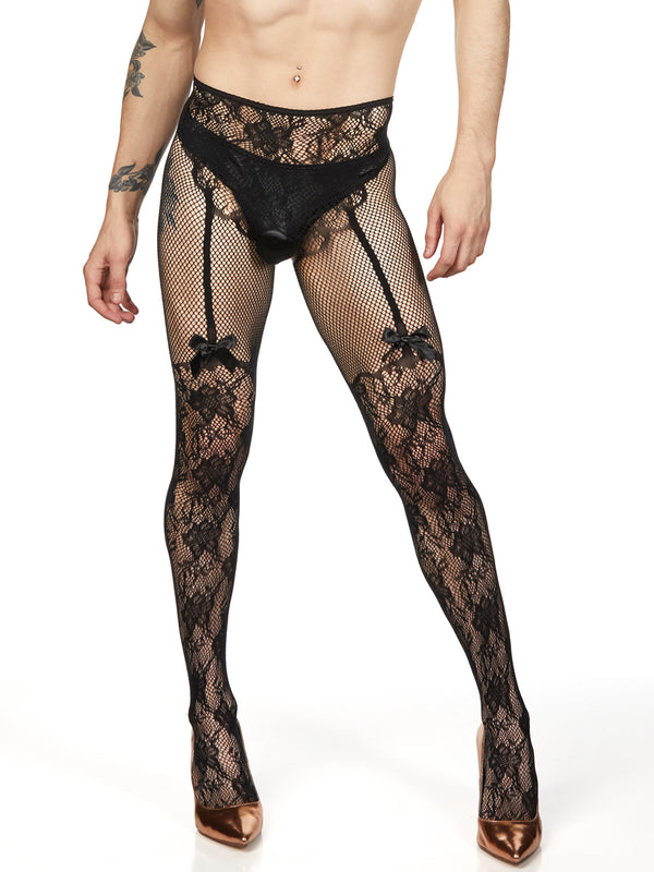Men's Lace Garter Pantyhose