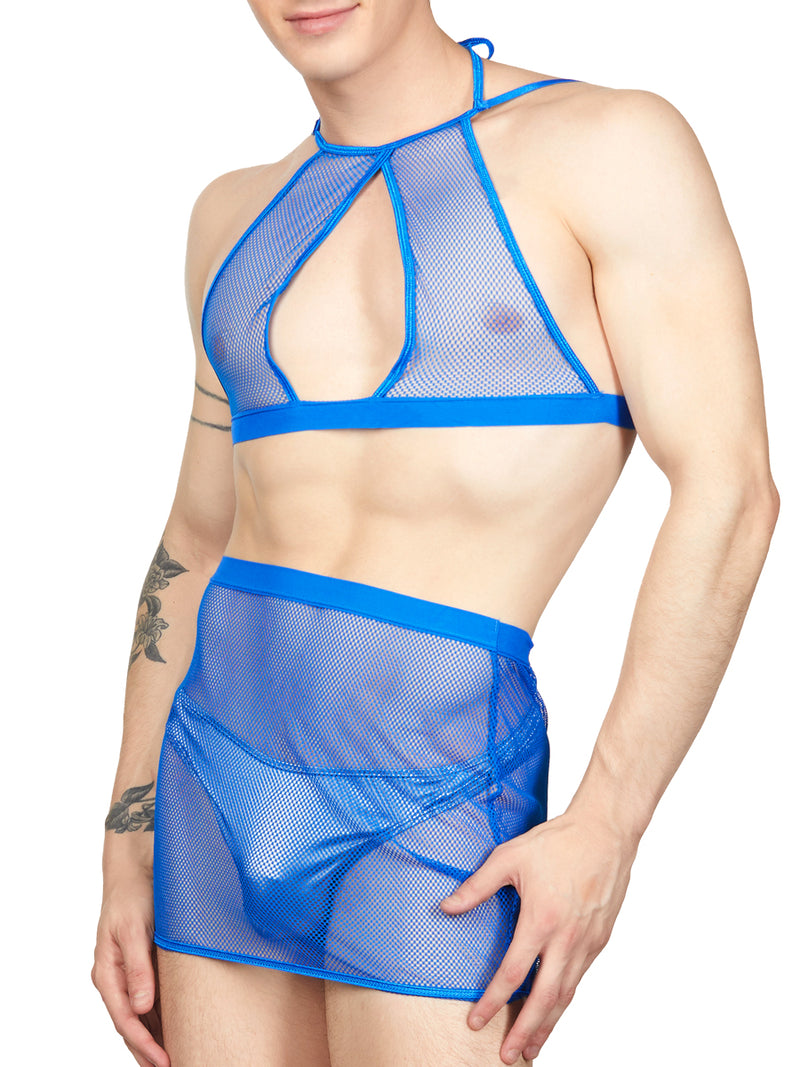 Men's Blue 2-Piece Mesh Set