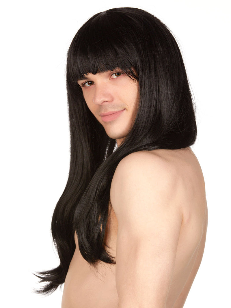 Men's black fringe long wig