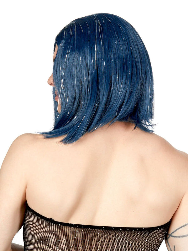 men's blue tinsel bob wig