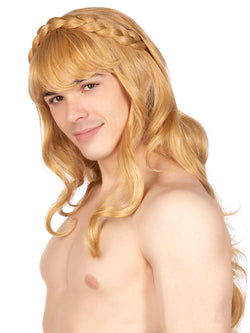 Men's blonde wavy wig with fringe