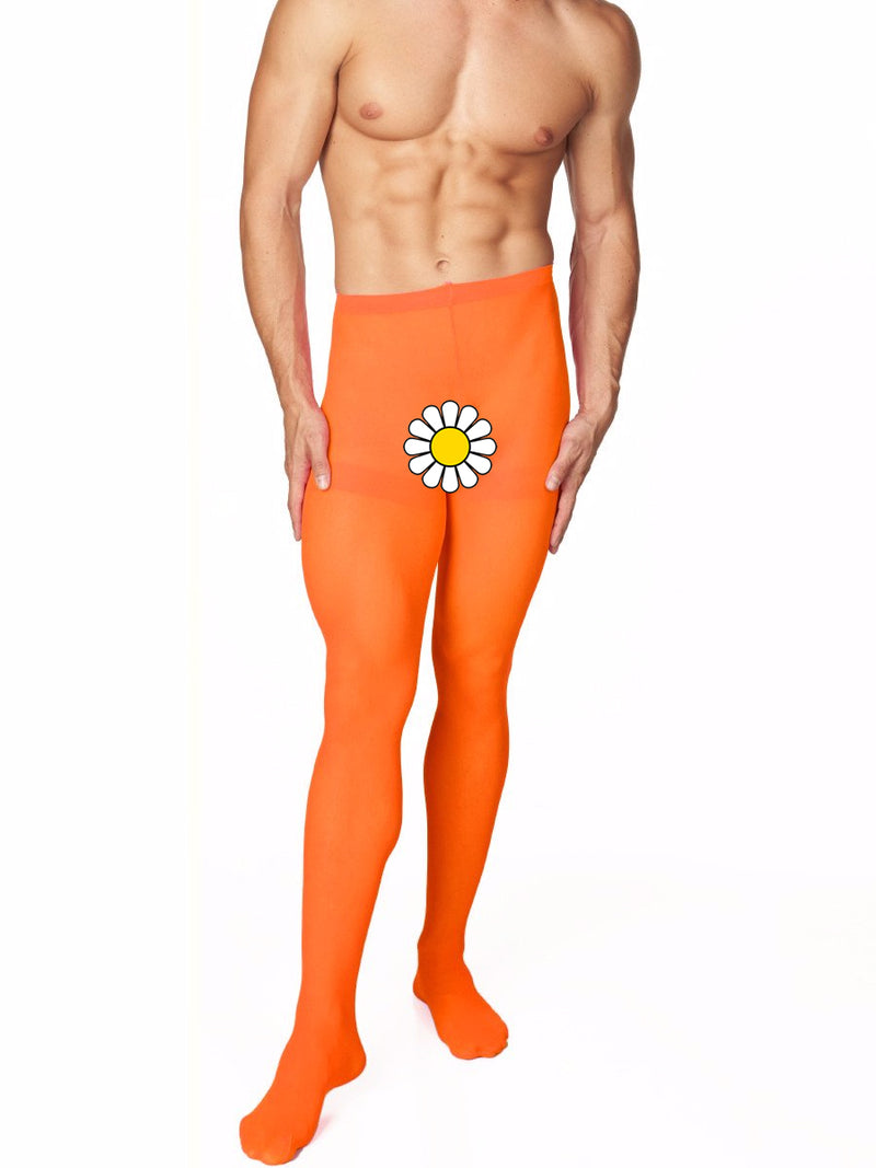 Men's orange opaque pantyhose tights