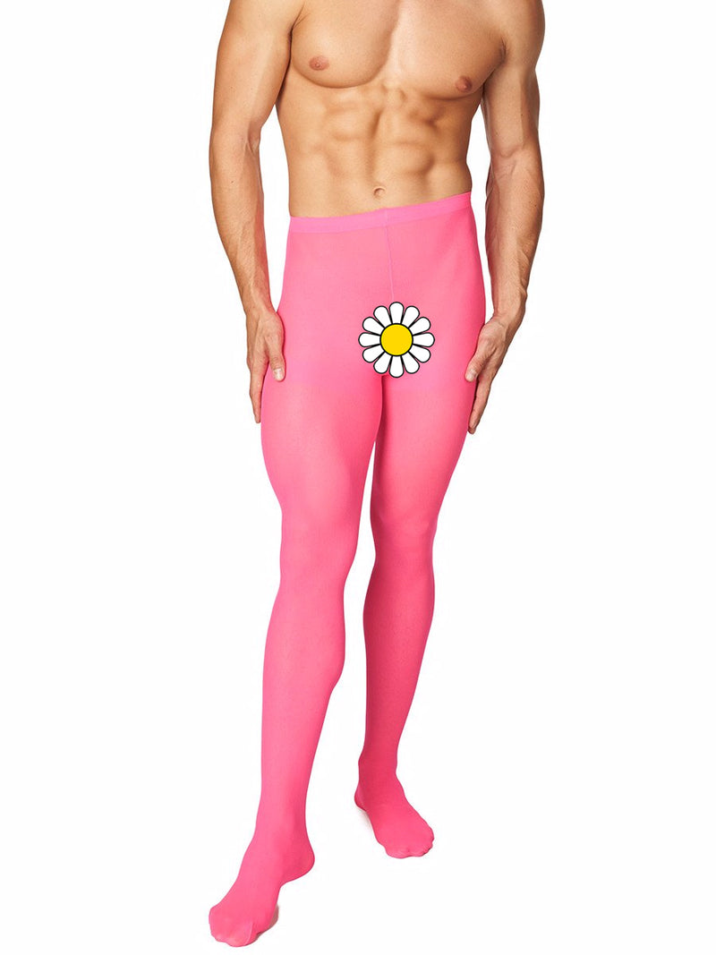 Men's pink opaque pantyhose tights