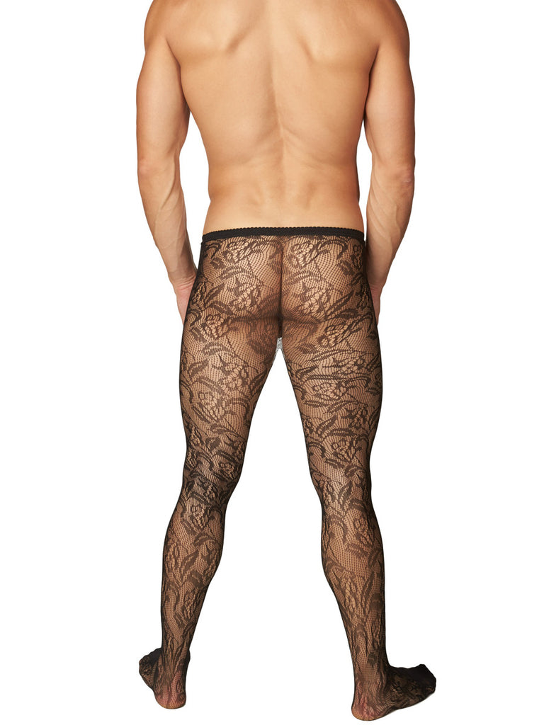 Men's black floral pattern pantyhose tights