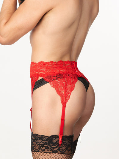 Men's red lace garter belt