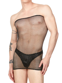 Men's crystal mesh tube dress