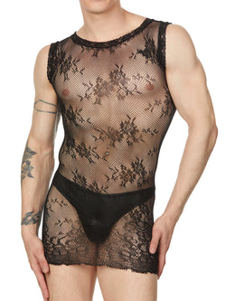 Men's black floral mesh mini dress