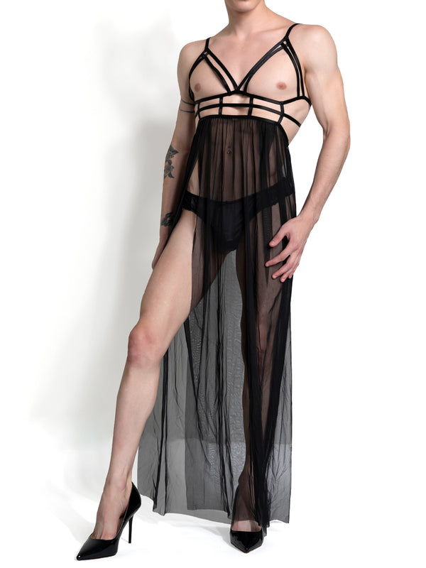 men's black strappy mesh gown