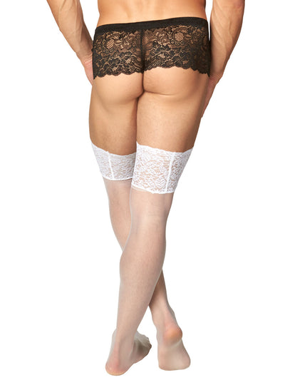 Men's white lace thigh high stockings pantyhose tights