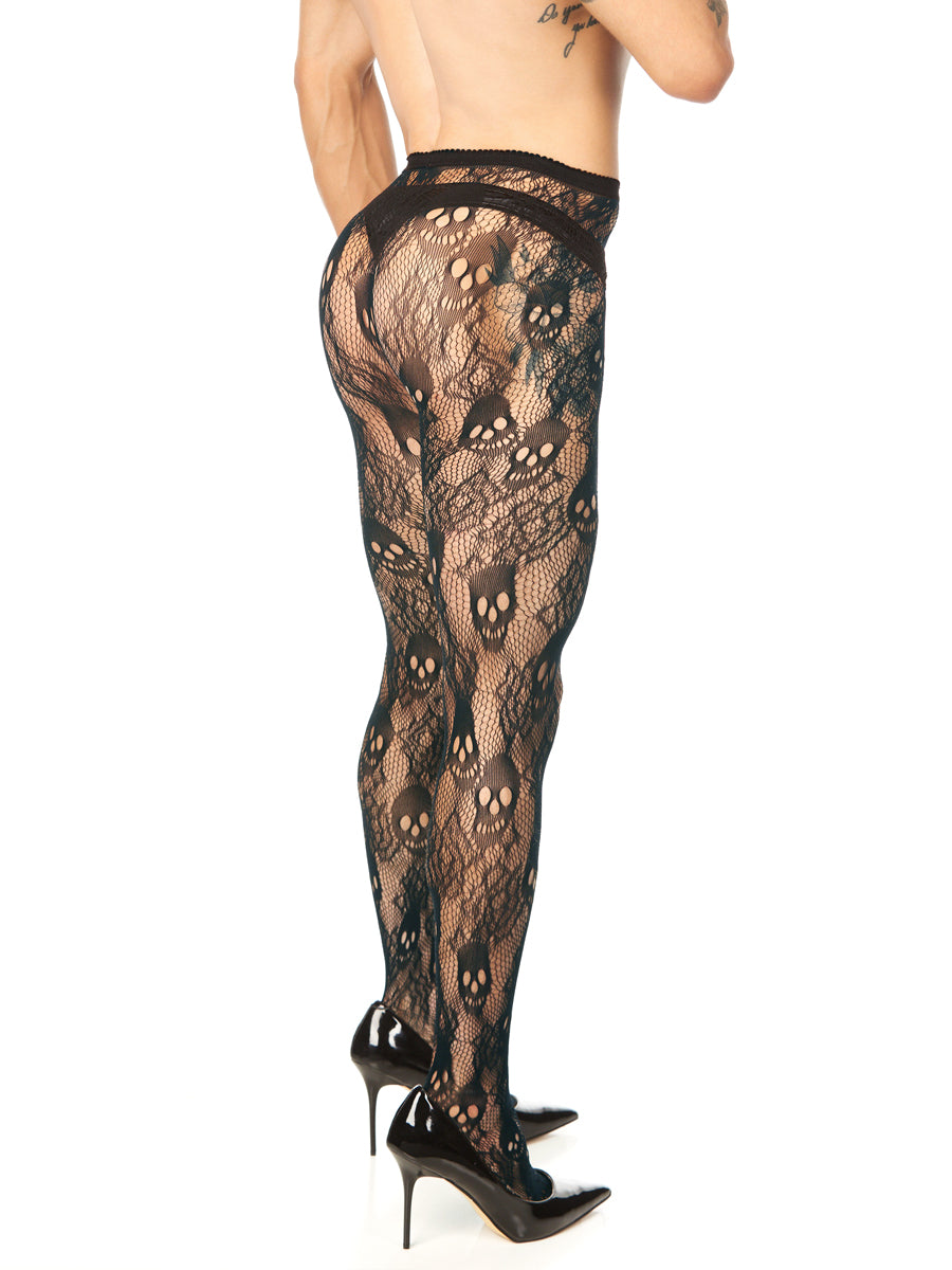 Roses and Skulls Fishnet Tights