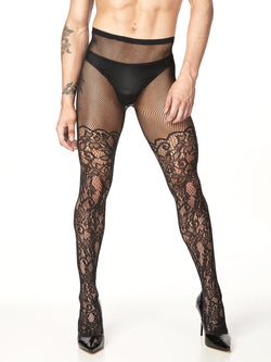 Men's Black Floral Fishnet Panties
