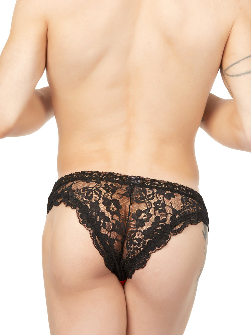 Men's orange transparent panty with lace