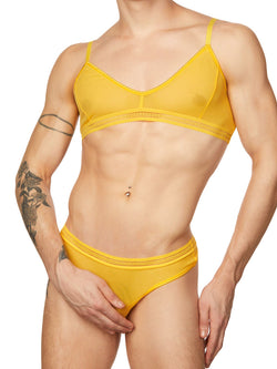 men's yellow mesh bra
