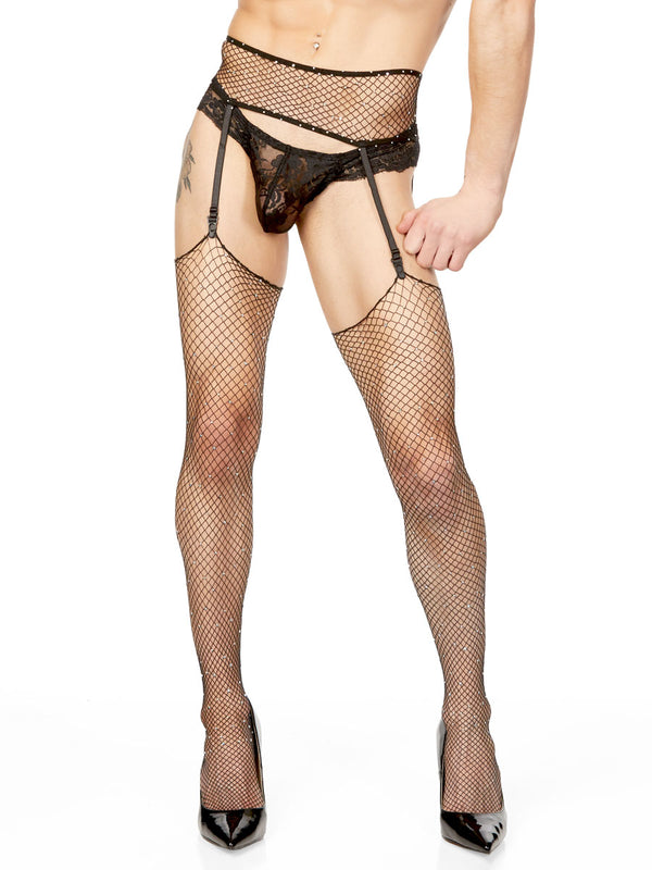 Men's fishnet garter and stocking