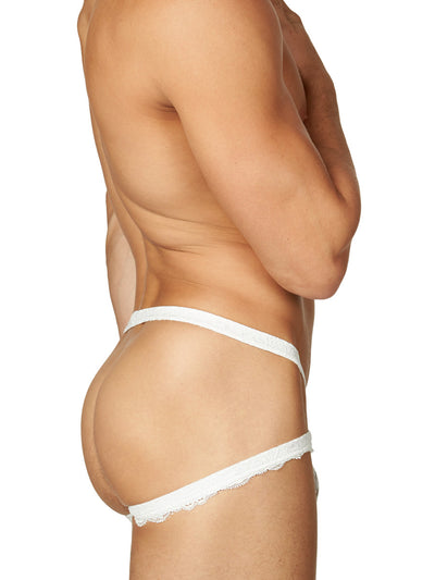 Men's white lace jock brief