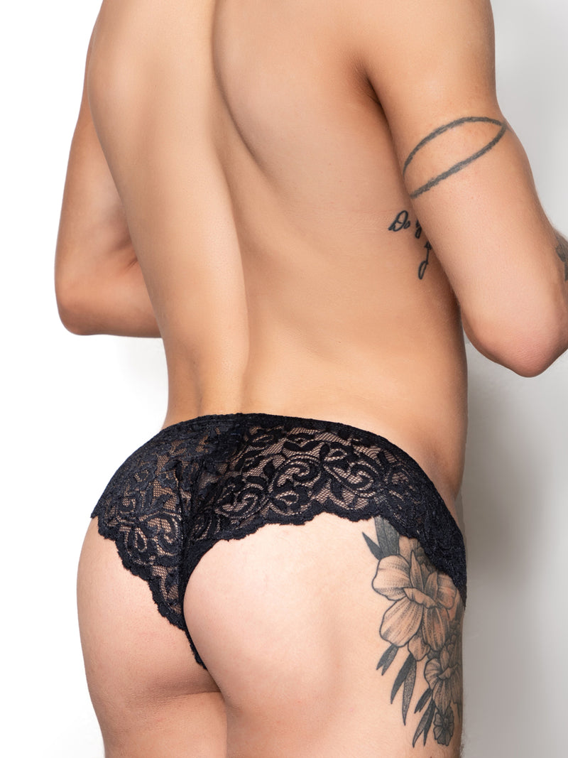 Men's black lace brazil panty
