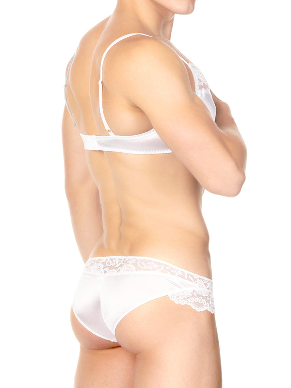 Men's white satin and lace bra