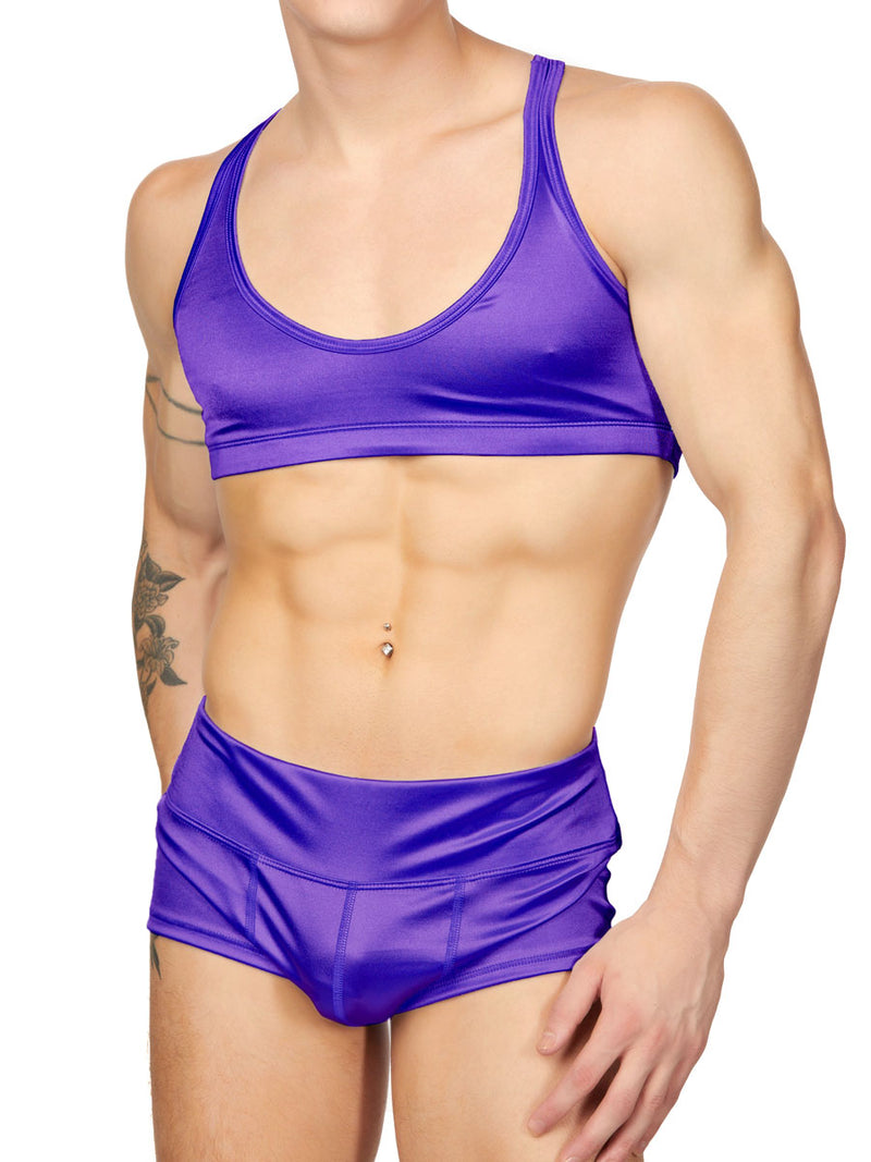 men's purple satin yoga bra