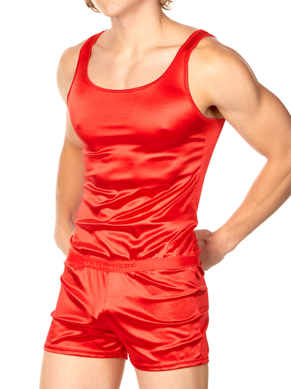 Men's red satin one piece