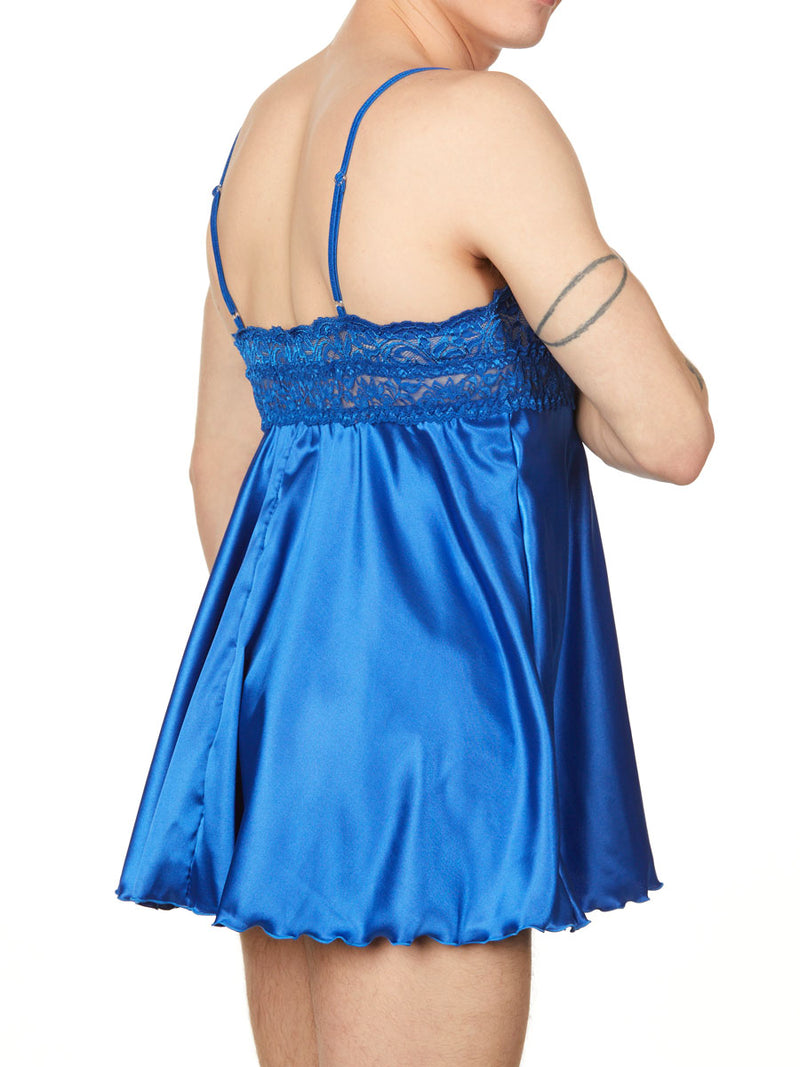 men's blue satin and lace nightie