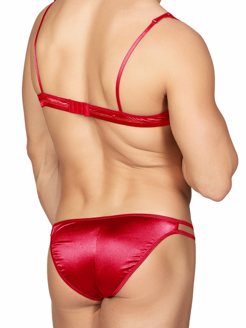 Men's Red Satin Bra